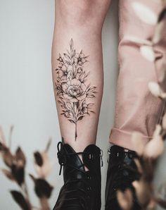 Back Of Leg Tattoos Women, Best Leg Tattoos, Tattoo Women, Tattoo Designs For Women, Trendy Tattoos, Tattoos For Women, Ankel Tattoos, Shin Tattoo, Rose Tattoos