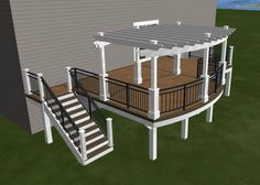 Design for my new deck. Timbertech maintenance free decking, white pergola, and three rail black railing, lights on top of pergola posts, on stairs and on deck posts.  Super excited to put deck furniture, a fire table and relax on the deck with a glass of wine!