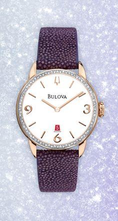 Leather stingray strap and 78 diamonds. Elegance with an edge.   98R196 http://www.bulova.com/en_us/watch/bulova/diamond-gallery/98R196