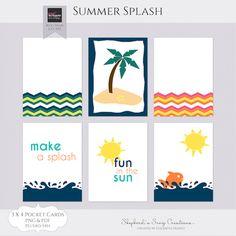 Free Summer Splash Pocket Cards |  ShepherdsSongCreations.com | July 2015 Pixel Scrapper Blog Train