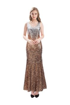 (This is an affiliate pin) MANER Women V Neck Sequin Long Dress Sleeveless Evening Prom Formal Mermaid Gowns