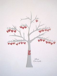 Paper Heart Tree...One heart for each family member. Mom would love this.