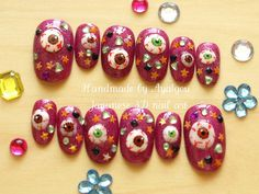 Halloween Japanese 3D nails eyeballs creepy spooky nail by Aya1gou, $20.00