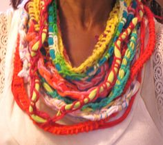 Holiday Fest Collection, jovial, spirited, fun,crochet, necklace scarf by TaraThings on Etsy.  This item is no longer available on Etsy.  It is on Ebay.