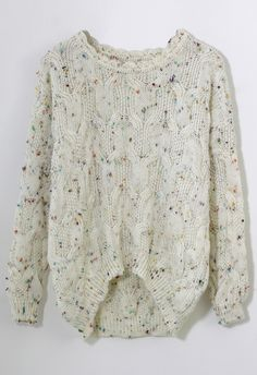Candy Dots Knit Sweater with Scrolled Neckline in Ivory - sale - Retro, Indie and Unique Fashion