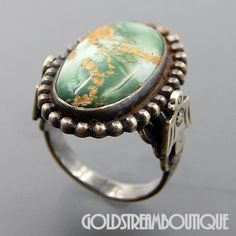 NATIVE AMERICAN FRED HARVEY ERA NAVAJO STERLING SILVER GREEN AGATE EAGLES OVAL BEADED RING SIZE 5.5