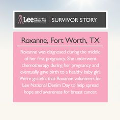Join Roxanne in the movement to rise above breast cancer. Donate today at http://denimday.com.