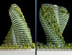 Agora Garden in Taipei is under development and will be completed in 2016. Inspired by the double helix of DNA, Agora Garden will be an upscale apartment complex located in the business district. Greenery on the balconies will insulate the building. All of the building materials will be recycled or recyclable.