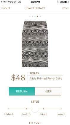 perfect for work- pair with a colorful top and accessories- Pixley Alicia Printed Pencil Skirt