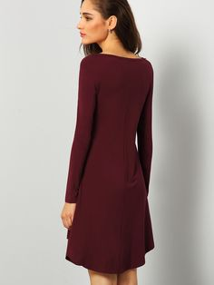 Burgundy Round Neck Casual Dress Things I Need To Buy, Stuff To Buy, Birthday Outfits, Stitch Fix Stylist, Everyday Dresses, Girly Things, What To Wear, Stylists, Burgundy
