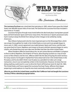 Worksheets: History of the Louisiana Purchase