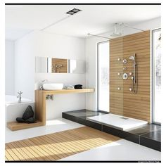 Modern Bathrooms with Spa-Like Appeal ❤ liked on Polyvore featuring home, bed & bath, bath, bath accessories, modern bathroom accessories and modern bath accessories