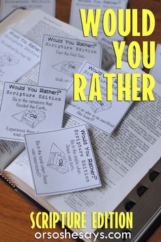 Our Would You Rather Scripture Game is not only a lot of fun, but it will also help you teach your family about the importance of Agency. This free Family Night printable is guaranteed to get your family talking and laughing. Get all the info at . Youth Games, Youth Activities, Church Activities, Church Games, Summer Activities, Young Women Activities, Indoor Activities, Youth Ministry Games, Young Women Handouts
