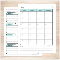 "Printable blank monthly and weekly planner pages designed in a black, light teal, and gray color scheme. These 4 pages in this bundle are made to fit any month or week by filling in the dates by yourself. The are designed for you to print them front and back to get maximum use. They are full size 8.5"" x 11"" pages and the designs are offset to the side to allow room for you to use a 3-hole punch so they can be put in a binder.:"
