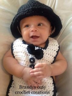 Spencer in his little tuxedo set. Cute Crochet Creations dae1ab3e7281