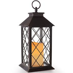 BRIGHT ZEAL 14 TALL Vintage Candle Lantern with LED Flickering Flameless Candles Timer Featured Remote  Batteries Included Decorative Candle Lanterns -- To view further for this item, visit the image link.