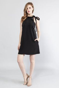 Trending, Cute, Sexy Black Tie Me Mini Dress Woven fabric  Round neck ribbon tie Sleeveless Side pockets Unlined