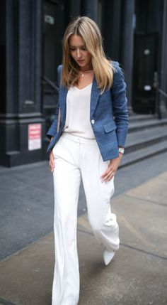 white trousers with blue blazer for summer office attire