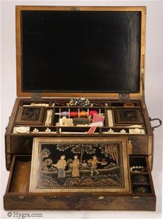 Chinese Lacquer fully fitted Chinese export lacquer sewing box Circa 1800