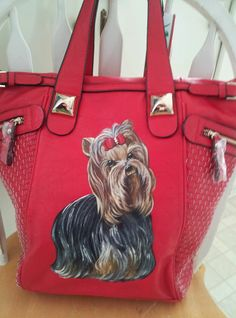 Handpainted Yorkie Red Handbag Painting  Purse Dog Art Misspaintsalot