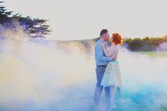 Smoke bomb wedding photos! Smoke Bombs, Hippy Buses and Incredible Cornish Views: Antonia & Harvey