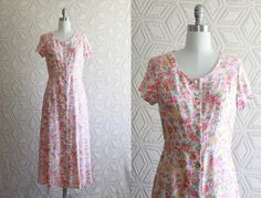 1980s baby Pink Rose Floral Summer Day Dress by Liyasvintage, $30.00