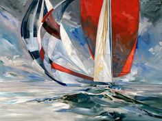 Racing sailboats painting by Willard Bond