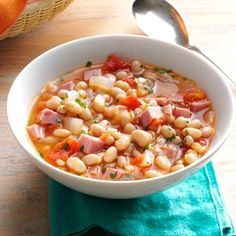 Hearty Navy Bean Soup Recipe -Beans were a commodity you did not survive without in th '30s. This excellent bean soup is a real family favorite of ours and I make it often. —Mildred Lewis, Temple, Texas