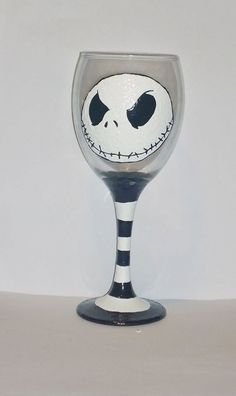 Hand painted Jack skellington wine glass by BeUniqueCrafting on Etsy