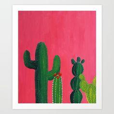 Buy Pink cactus Art Print by Mikaela Puranen.