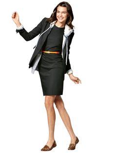 Black Dress: Ann Taylor, $118; anntaylor.com. Hoodie: Quiksilver, $49.50; quiksilver.com. Blazer:  Victoria's Secret Catalogue, $128; victoriassecret.com. Belt: GoJane, $6.40; gojane.com. Leopard flats: Qupid, $29.95; dsw.com.   - Redbook.com