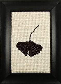 My cross-stitch ginkgo leaf!