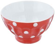 Салатница Kaiwei Веселый горошек, цвет: красный, белый, 500 мл