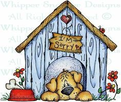 Sorry Pup - Dogs - Animals - Rubber Stamps - Shop Cute Drawings, Animal Drawings, Cute Clipart, Dog Cards, Country Paintings, Copics, Whimsical Art, Cute Illustration, Christmas Art