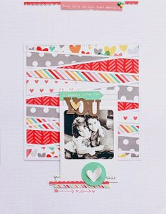 Love the torn paper collage in this layout from Waleska Neris