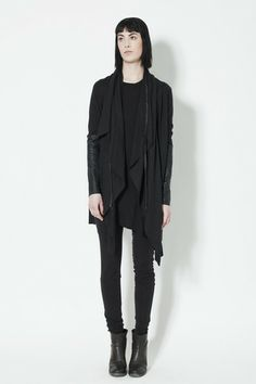 Ovate Waterfall Sweater  http://ovate.myshopify.com/collections/clothing/products/cardigan-with-leather-sleeve-black