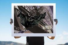 Batman Descent on Gotham Deluxe Fine Art Lithograph by Alex Ross | Sideshow Fine Art Prints Apple Corps, Batman Artwork, Alex Ross, Dc Comics Art, Sideshow Collectibles, Comic Book Artists, Gotham, Fine Art Paper, Fine Art Prints