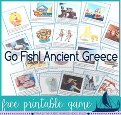 Free Ancient Greece Go Fish game. Theres not a better way to start back to our Ancient Greece unit study than playing a game. So, today I am sharing my free Ancient Greece go fish game. I have created some history cards to play Go Fish! Ancient World History, Greek History, European History, American History, Nasa History, History Facts, History Activities, Teaching History, Ancient Greece Lessons