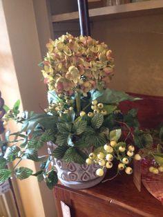 Hydrangea and berry arrangement