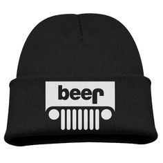 Beer Jeep Funny Drinking Kids Skullies And Beanies Black. Surface Material: 85% Cotton. Knit Skullies. Stylish Outdoor Activities. 7.8 Inch Depth. Hand Wash.
