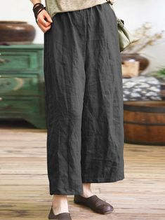 Description: Theme:Spring/Fall,Summer Process:Pockets Thickness:Lightweight Elasticity:Non-stretchy Material:Cotton,Linen Style:Casual Silhouette: Winter Fashion Casual, Plus Size Pants, Laid Back Style, Plus Size Casual, Linen Pants, Wide Leg Pants, Loose Pants, Plus Size Women, Cotton Linen