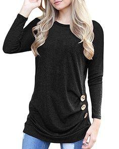 52ff0a01672 Doris Kids Women's Casual Tunic Top Sweatshirt Long Sleeve Blouse T-Shirt  Button Decor Black