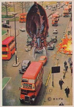 """""""Pachimon postcards"""", or vintage """"bromide"""", representing cities of the world with old Japanese giant monsters. Power Rangers, Vintage Japanese, Japanese Art, Japanese Monster Movies, Japanese Poster Design, Monster Cards, Scary Monsters, Alien Creatures, Lowbrow Art"""
