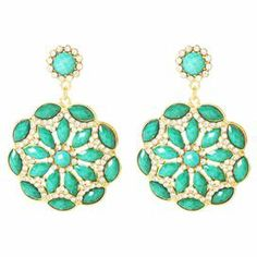 """Inspired by blossoming peonies, these lovely drop earrings showcase faux turquoise stones offset by sparkling Austrian crystals.    Product: Pair of earringsConstruction Material: Brass, resin and Austrian crystalsColor: Turquoise and goldFeatures: Peony flower designDimensions: 2.5"""" H x 1.5"""" W"""