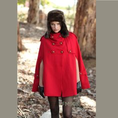 RED winter cape, Wool hoodie cape, double breasted hooded coat, winter cloak with hood , 70% wool  (FM003)