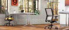 Amplify highback task chair, Momentum Intersect Cheer, fog mesh, adjustable arms, black frame & base