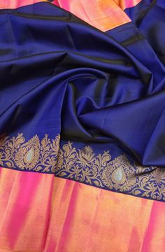Mysore silk from Karnataka Kanjivaram Sarees Silk, Blue Silk Saree, Mysore Silk Saree, Wedding Silk Saree, Indian Silk Sarees, Half Saree Designs, Sari Blouse Designs, Latest Silk Sarees, Reception Sarees