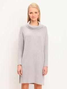 Γυναικείο casual ζιβάγκο φόρεμα. Χρώμα: Γκρι High Neck Dress, Casual, Sweaters, Dresses, Fashion, Turtleneck Dress, Gowns, Moda, Fashion Styles