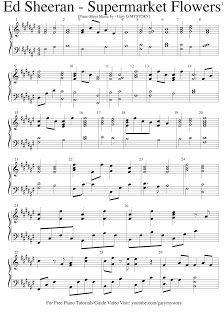 Ed Sheeran - Supermarket Flowers FREE PIANO SHEET MUSIC (Easy Piano Tutorial Video Song Cover Keyboard Lesson Backtrack Karaoke 2017)