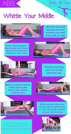 Whittle your middle :) New printable workout card to slim down the middle! Click the image to view the video version of this workout!